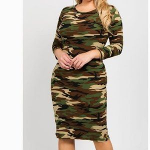 Women's 3/4 Sleeve Bodycon Midi Dress Camouflage